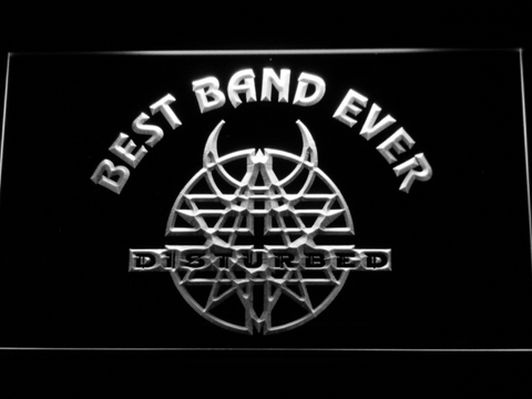Disturbed Best Band Ever LED Neon Sign - White - SafeSpecial