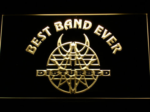 Disturbed Best Band Ever LED Neon Sign - Yellow - SafeSpecial