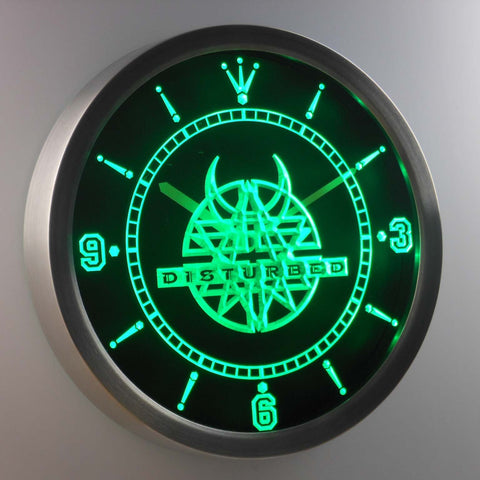 Disturbed LED Neon Wall Clock - Green - SafeSpecial