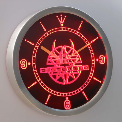 Disturbed LED Neon Wall Clock - Red - SafeSpecial