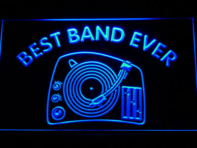 DJ Turntable Best Band Ever LED Neon Sign - Blue - SafeSpecial