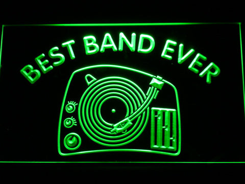 DJ Turntable Best Band Ever LED Neon Sign - Green - SafeSpecial