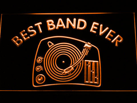 DJ Turntable Best Band Ever LED Neon Sign - Orange - SafeSpecial