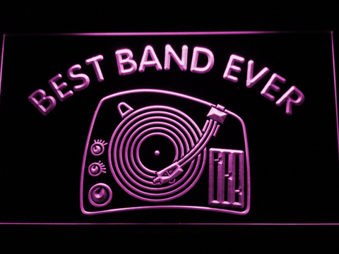 DJ Turntable Best Band Ever LED Neon Sign - Purple - SafeSpecial