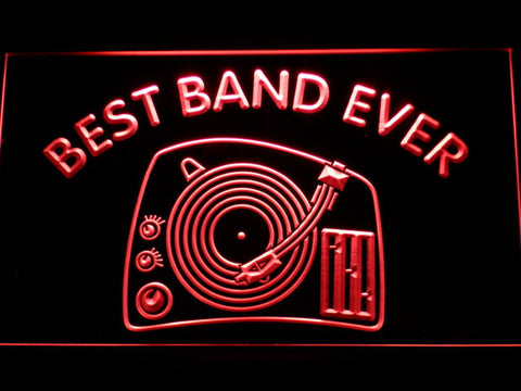 DJ Turntable Best Band Ever LED Neon Sign - Red - SafeSpecial