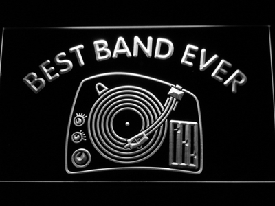 DJ Turntable Best Band Ever LED Neon Sign - White - SafeSpecial