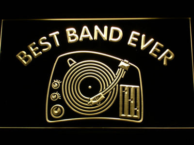 DJ Turntable Best Band Ever LED Neon Sign - Yellow - SafeSpecial
