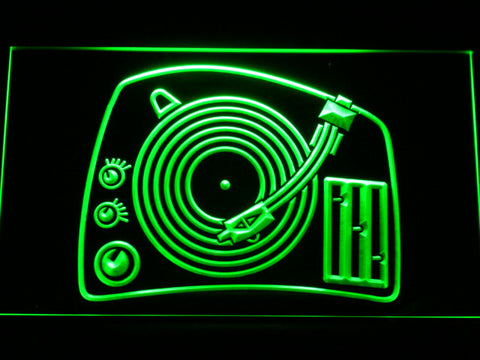 DJ Turntable LED Neon Sign - Green - SafeSpecial