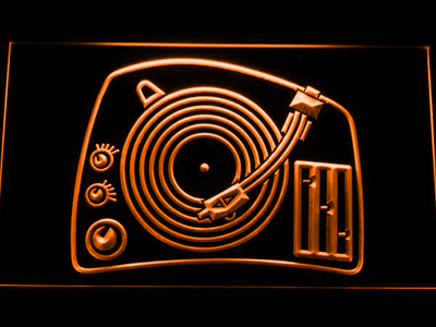 DJ Turntable LED Neon Sign - Orange - SafeSpecial