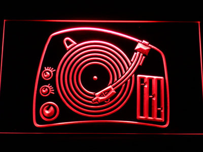 DJ Turntable LED Neon Sign - Red - SafeSpecial