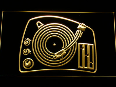 DJ Turntable LED Neon Sign - Yellow - SafeSpecial