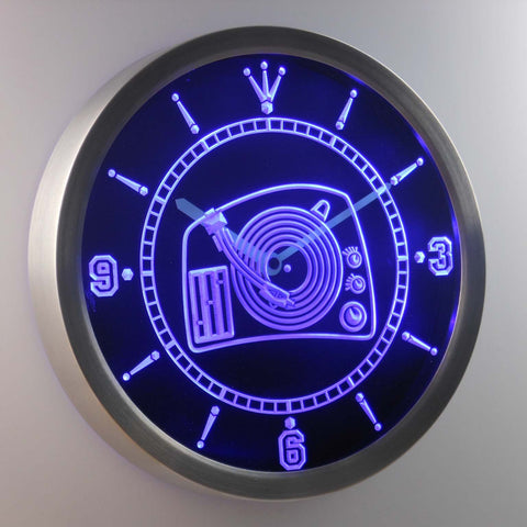 Image of DJ Turntable LED Neon Wall Clock - Blue - SafeSpecial
