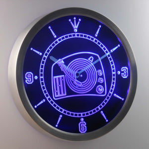 DJ Turntable LED Neon Wall Clock - Blue - SafeSpecial