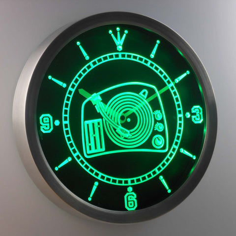 Image of DJ Turntable LED Neon Wall Clock - Green - SafeSpecial
