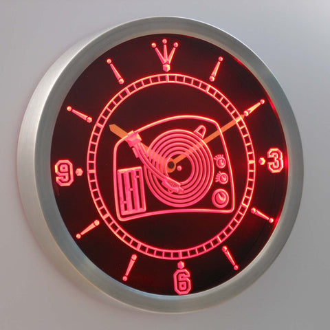 Image of DJ Turntable LED Neon Wall Clock - Red - SafeSpecial