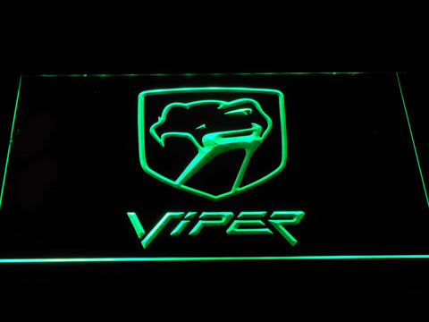 Image of Dodge Viper Old Logo LED Neon Sign - Green - SafeSpecial
