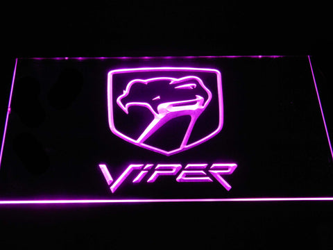 Image of Dodge Viper Old Logo LED Neon Sign - Purple - SafeSpecial