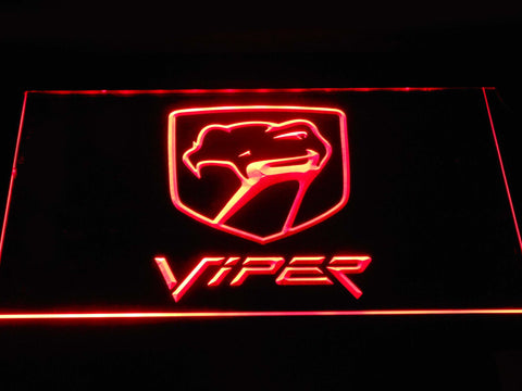 Image of Dodge Viper Old Logo LED Neon Sign - Red - SafeSpecial