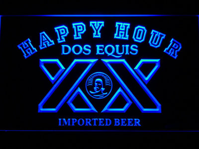 Dos Equis Happy Hour LED Neon Sign - Blue - SafeSpecial
