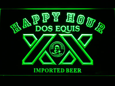 Dos Equis Happy Hour LED Neon Sign - Green - SafeSpecial