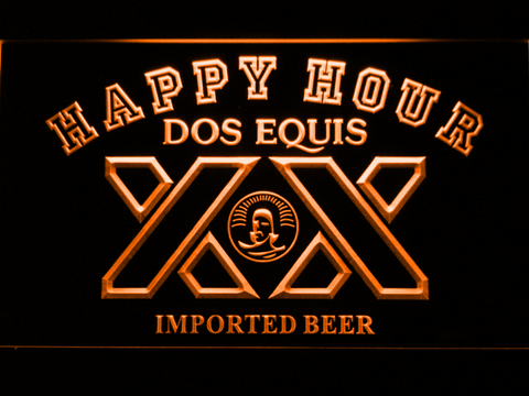 Dos Equis Happy Hour LED Neon Sign - Orange - SafeSpecial