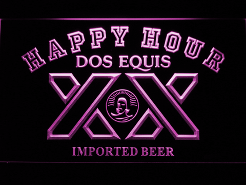 Dos Equis Happy Hour LED Neon Sign - Purple - SafeSpecial