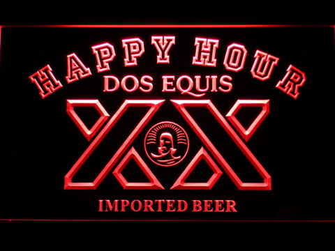 Image of Dos Equis Happy Hour LED Neon Sign - Red - SafeSpecial