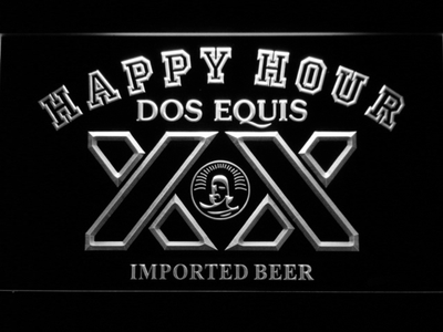 Dos Equis Happy Hour LED Neon Sign - White - SafeSpecial