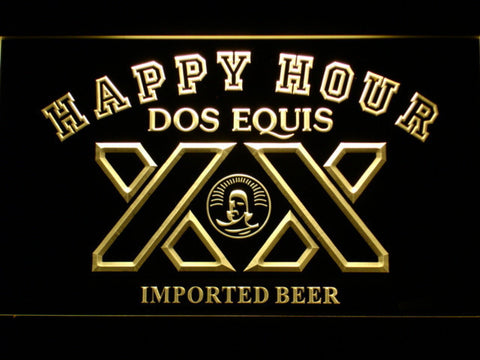 Dos Equis Happy Hour LED Neon Sign - Yellow - SafeSpecial