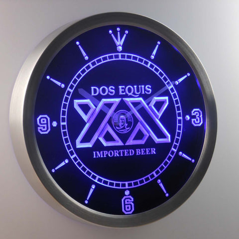 Dos Equis LED Neon Wall Clock - Blue - SafeSpecial