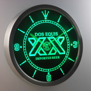 Dos Equis LED Neon Wall Clock - Green - SafeSpecial
