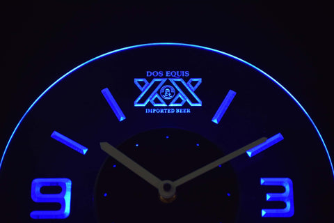 Image of Dos Equis Modern LED Neon Wall Clock - Blue - SafeSpecial