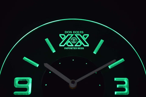 Image of Dos Equis Modern LED Neon Wall Clock - Green - SafeSpecial