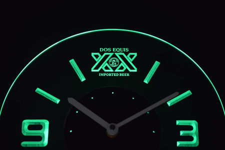 Dos Equis Modern LED Neon Wall Clock - Green - SafeSpecial