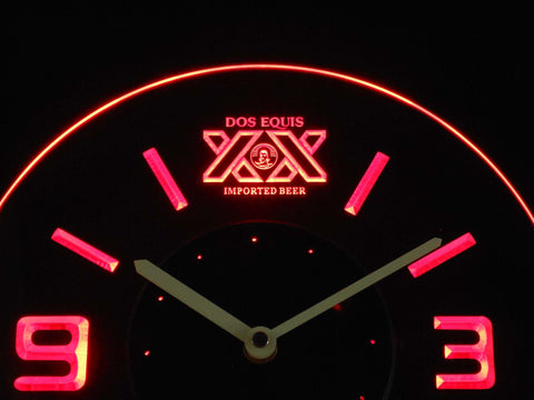 Image of Dos Equis Modern LED Neon Wall Clock - Red - SafeSpecial