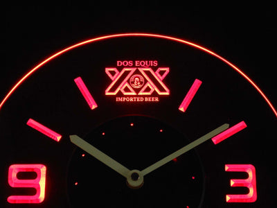 Dos Equis Modern LED Neon Wall Clock - Red - SafeSpecial