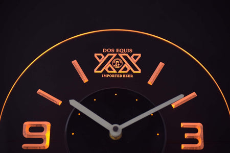 Dos Equis Modern LED Neon Wall Clock - Yellow - SafeSpecial