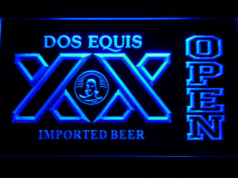Image of Dos Equis Open LED Neon Sign - Blue - SafeSpecial