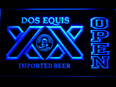 Dos Equis Open LED Neon Sign - Blue - SafeSpecial