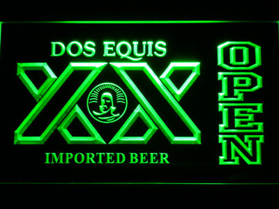 Dos Equis Open LED Neon Sign - Green - SafeSpecial
