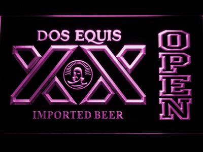 Dos Equis Open LED Neon Sign - Purple - SafeSpecial