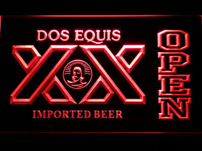 Dos Equis Open LED Neon Sign - Red - SafeSpecial