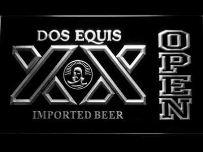 Dos Equis Open LED Neon Sign - White - SafeSpecial