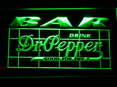 Dr Pepper Bar LED Neon Sign - Green - SafeSpecial