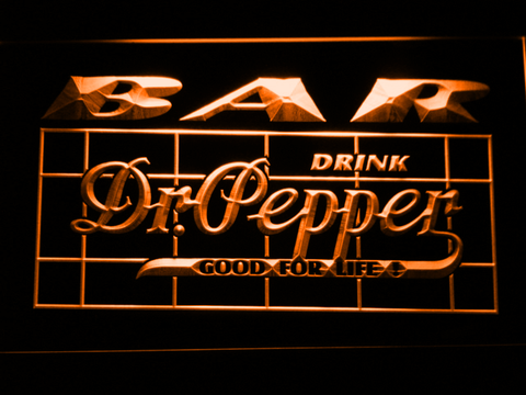 Dr Pepper Bar LED Neon Sign - Orange - SafeSpecial