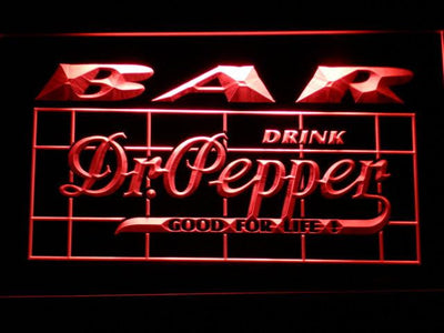 Dr Pepper Bar LED Neon Sign - Red - SafeSpecial