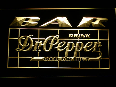 Image of Dr Pepper Bar LED Neon Sign - Yellow - SafeSpecial