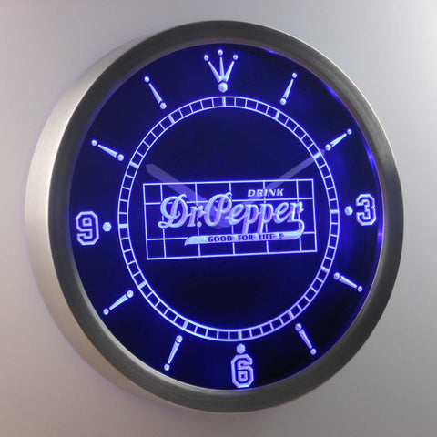 Image of Dr. Pepper Good For Life LED Neon Wall Clock - Blue - SafeSpecial