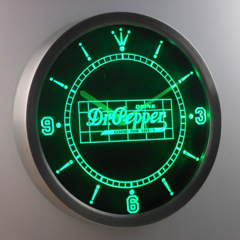 Dr. Pepper Good For Life LED Neon Wall Clock - Green - SafeSpecial