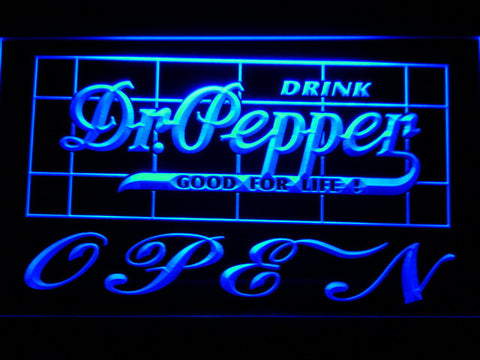 Image of Dr Pepper Good For Life Open LED Neon Sign - Blue - SafeSpecial